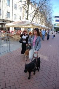 Kaili juhtkoer Jessiga ja Karin juhtkoer KArmeniga Tartus kõndimas